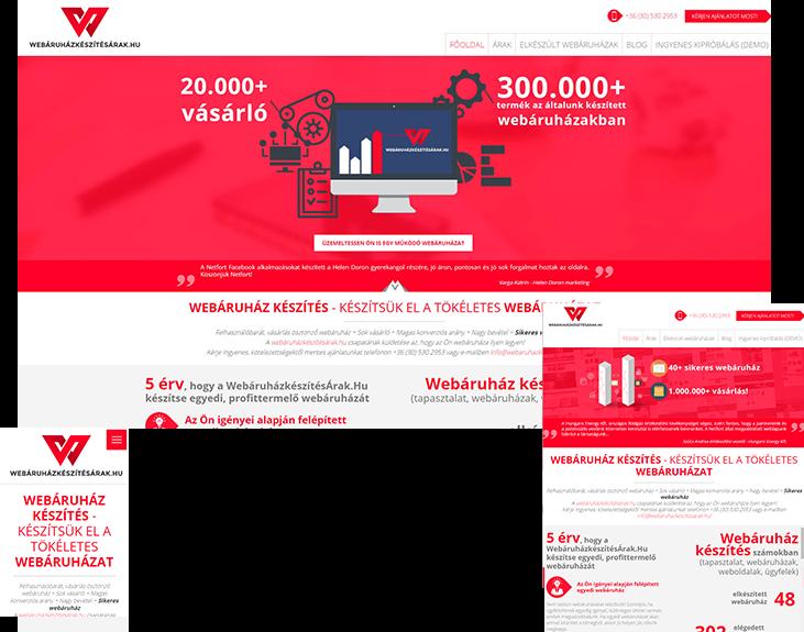 Webáruházkészítésárak.hu bemutatkozó weboldal készítés